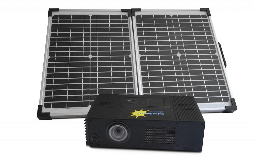 The solar panel unfolds for easy set-up. Charging the battery takes place during school hours.